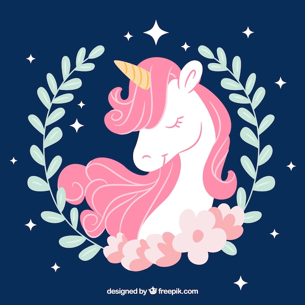 Pretty hand drawn unicorn background with leaves decoration Free Vector