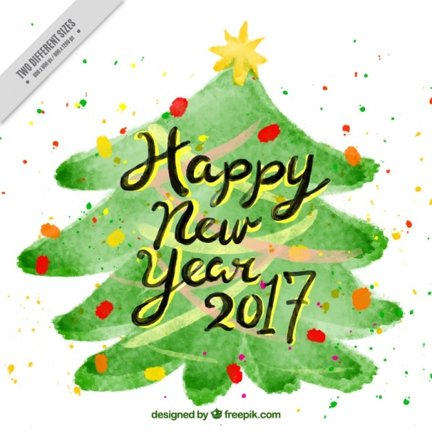 pretty happy new year background of watercolor christmas tree free vector