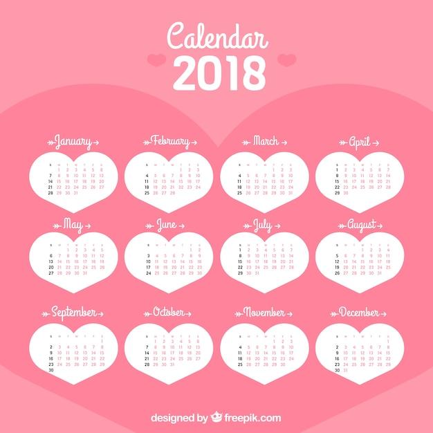 Pretty hearts 2018 calendar
