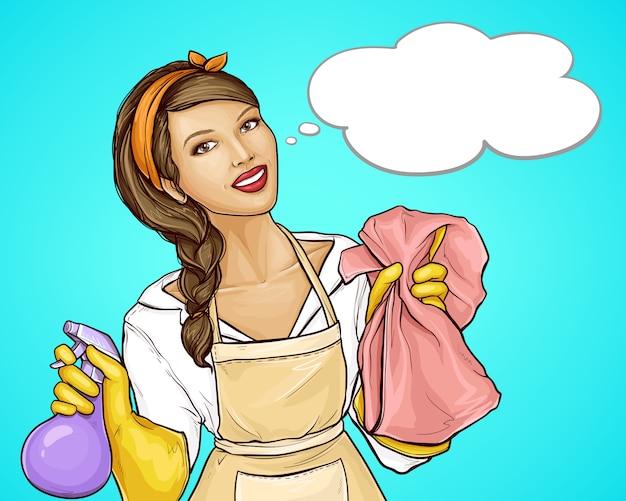 Casalinga graziosa che annuncia un fumetto di servizio di pulizia Vettore gratuito