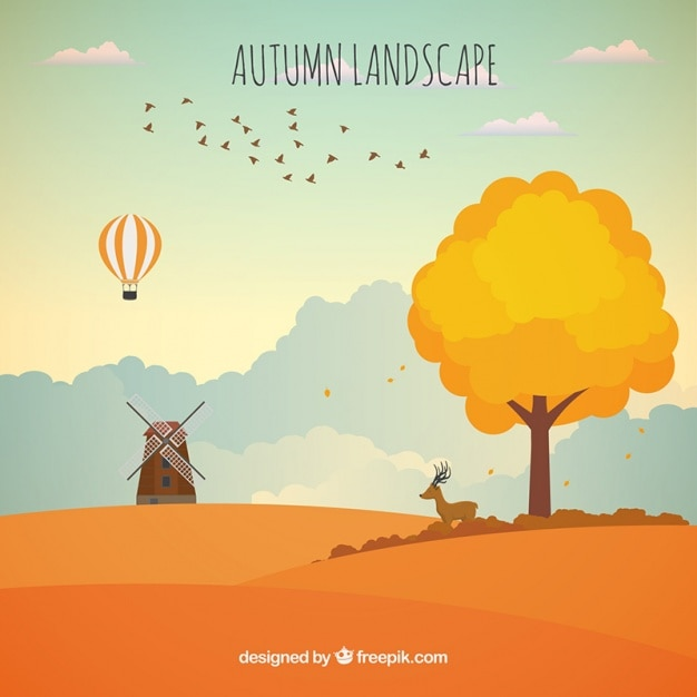 Pretty inspiring background of autumn landscape Free Vector