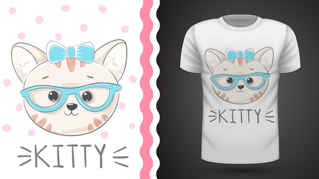 Pretty kittty idea for print t-shirt Premium Vector