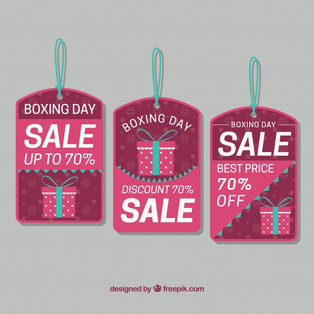Pretty labels of boxing day gifts