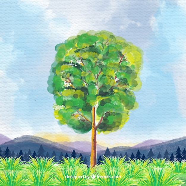 Pretty landscape with watercolor tree