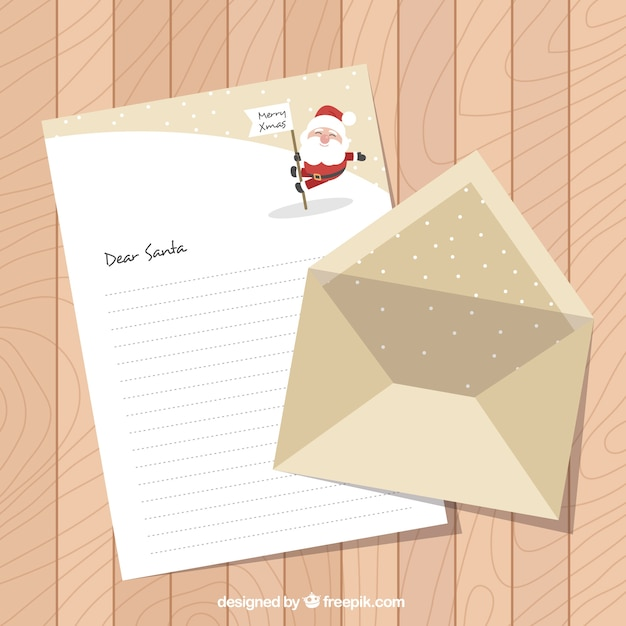 Pretty letter for santa claus with envelope Vector   Free Download