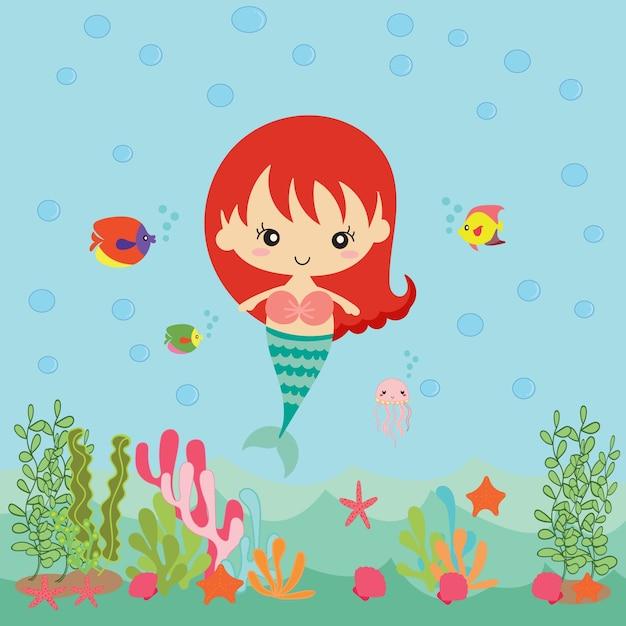 pretty mermaid vector cartoon illustration