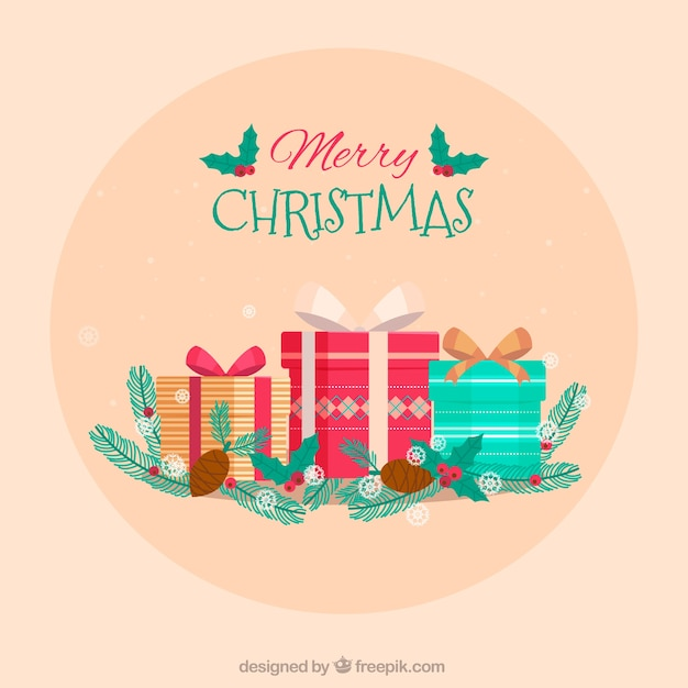 Pretty merry christmas background with gift boxes Vector | Free Download
