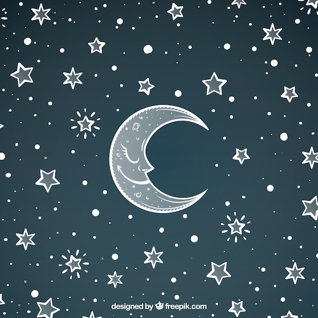 Pretty moon background and hand drawn stars Vector | Free ...