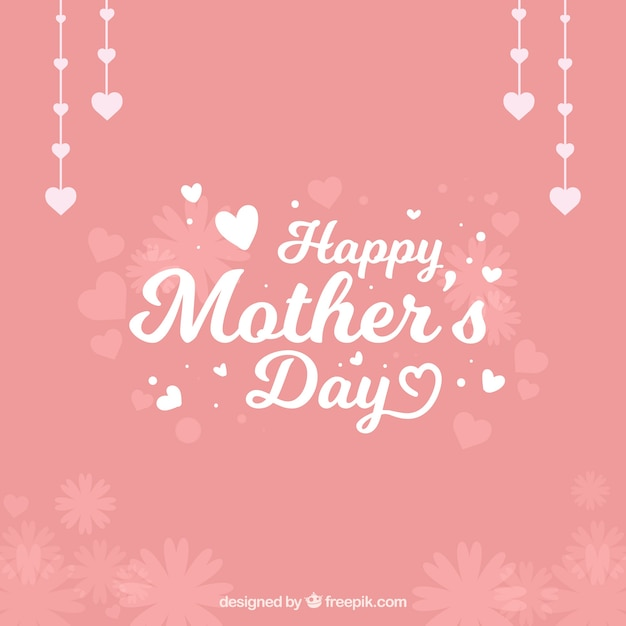 pretty mother's day background with decorative hearts and flowers, Beautiful flower