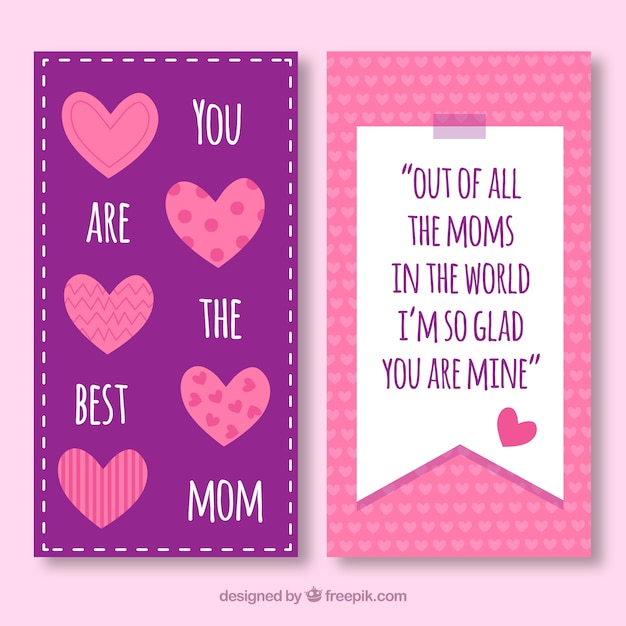 Pretty mother\'s day banners with decorative\ hearts