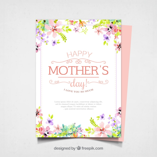 Pretty mother's day card with watercolor flowers Free Vector