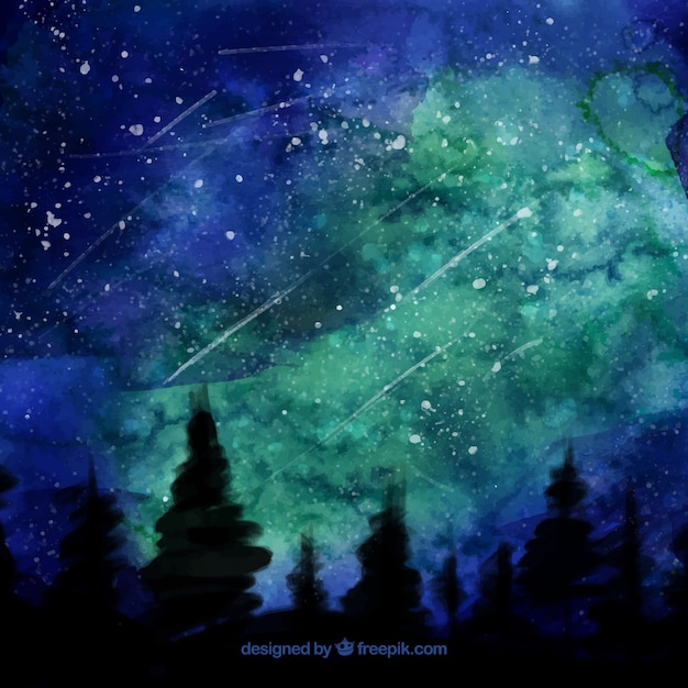 Pretty night landscape watercolor background\ with stars