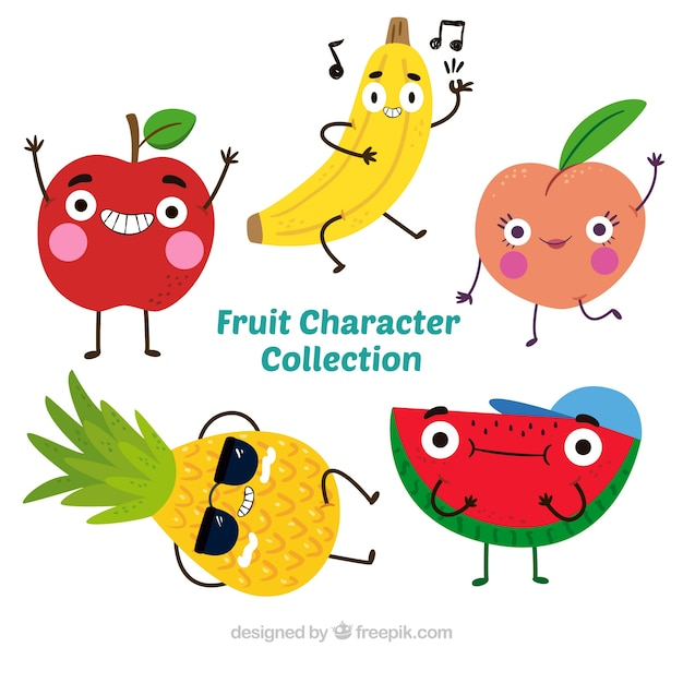 Five Photographs Of Banana In Seach Of >> Pretty Pack Of Five Fruit Characters Stock Images Page Everypixel