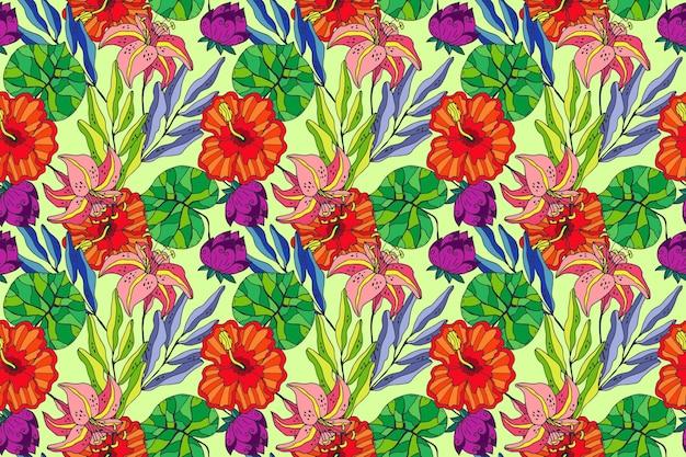 きれいに描かれたエキゾチックな花柄 無料ベクター