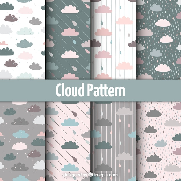 Pretty pastel colored clouds pattern set Free Vector