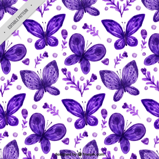 Pretty pattern of flowers and watercolor\ butterflies in purple color