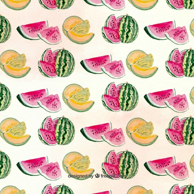 Pretty pattern with melons and watermelons Free Vector