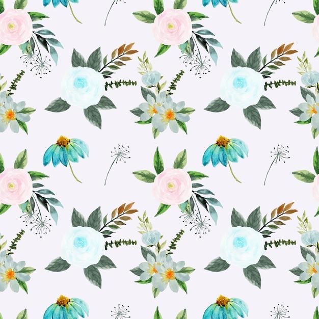 예쁜 분홍색과 파란색 꽃 원활한 패턴 프리미엄 벡터