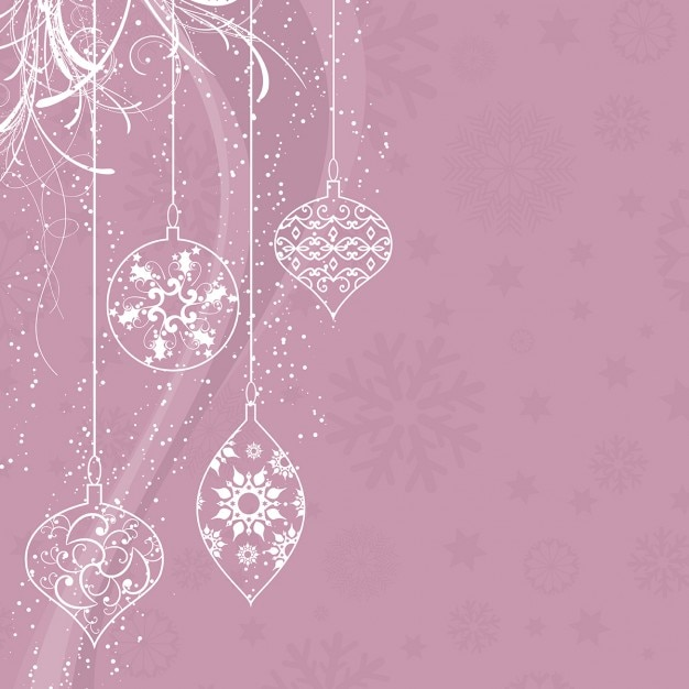 pretty pink background with christmas balls in vintage