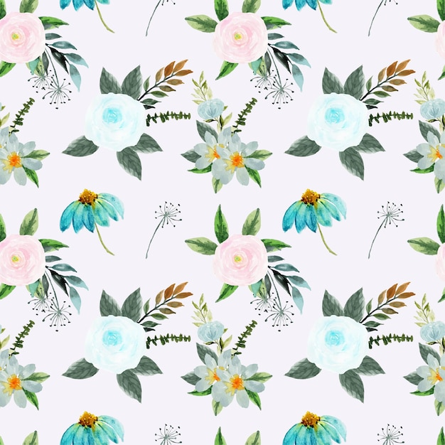 Pretty pink and blue floral seamless pattern Premium Vector