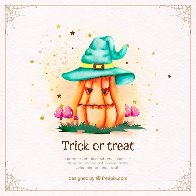Pretty pumpkin background with watercolor halloween hat Free Vector
