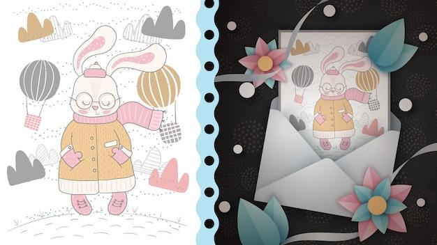 Симпатичный кролик - идея для поздравительной открытки Premium векторы