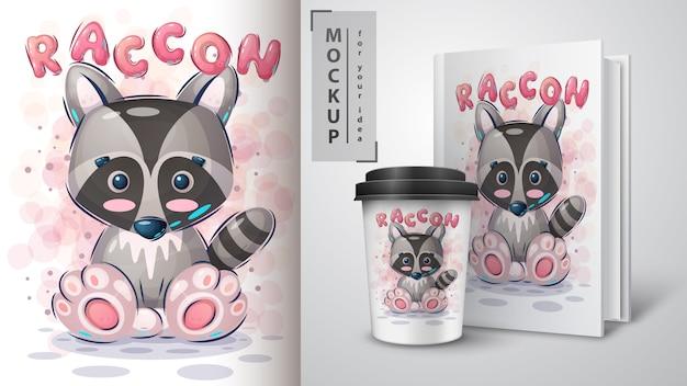 Pretty raccoon poster and merchandising Premium Vector