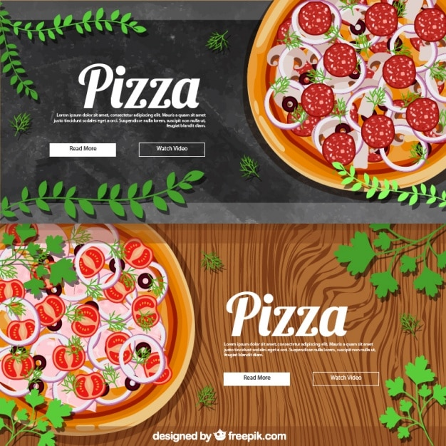 Pretty Realistic Banners For Pizza Vector Free Download