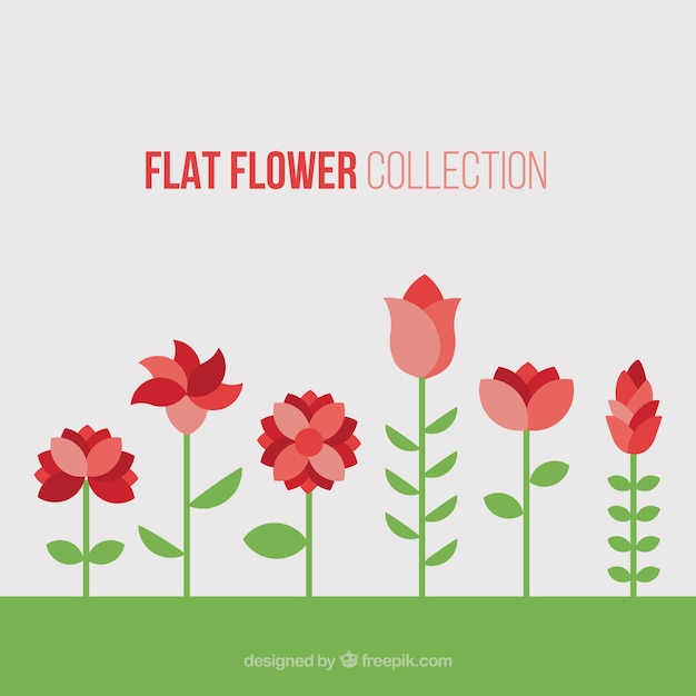 Pretty red flowers in flat design stock images page everypixel mightylinksfo
