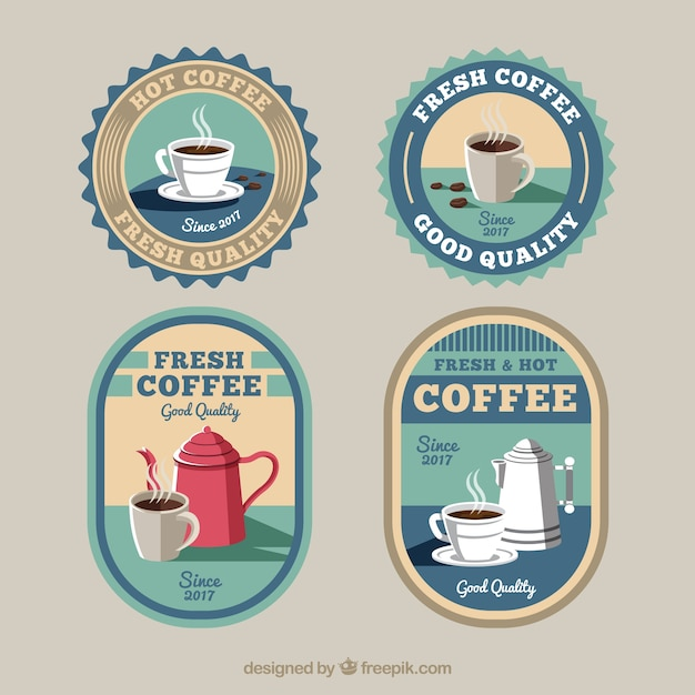 Pretty retro coffee stickers free vector