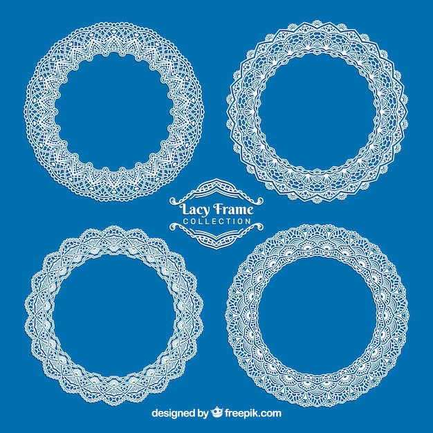 Pretty round lace frames Free Vector
