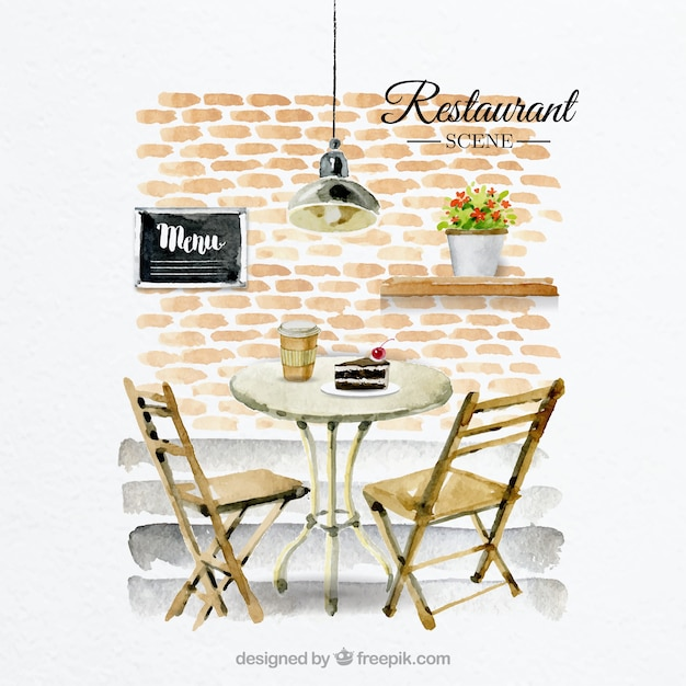 Pretty Scene Table For Two In A Restaurant Vector Free Download - Table for two restaurant
