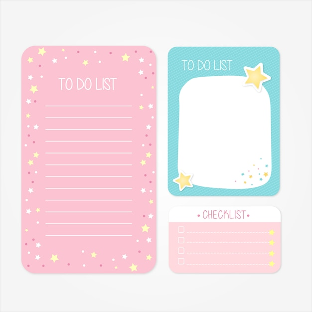 Pretty school designs for to do lists and checklists in pink and blue tones Premium Vector