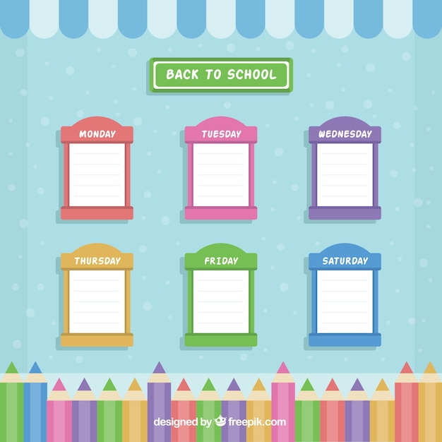 School Window Clipart pretty school timetable of colored windows vector | free download