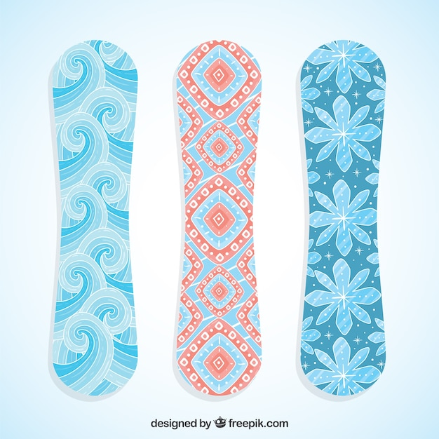 Pretty snowboards with abstract design