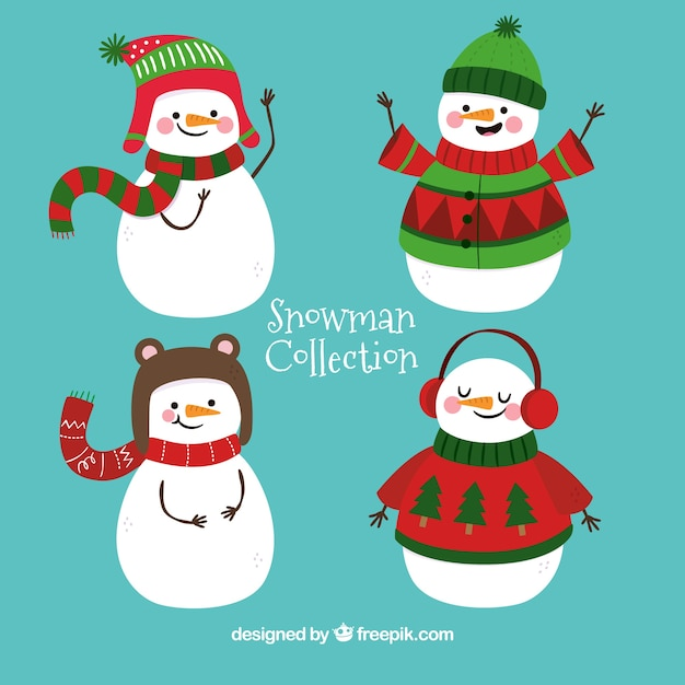 Pretty snowmen with winter accessories Free Vector