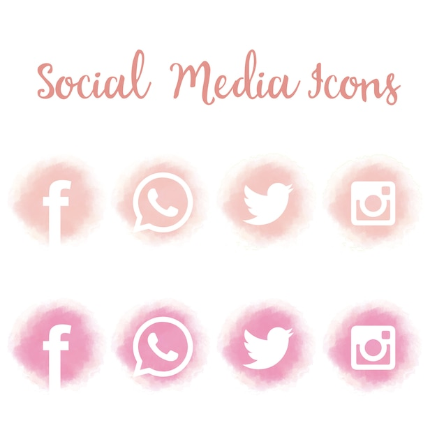 Pretty social media icons in watercolor Free Vector