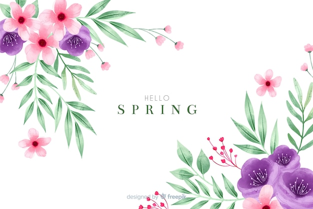 Pretty spring background with watercolor flowers Free Vector