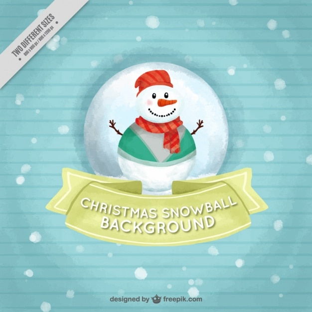 Pretty striped background with nice watercolor snowman