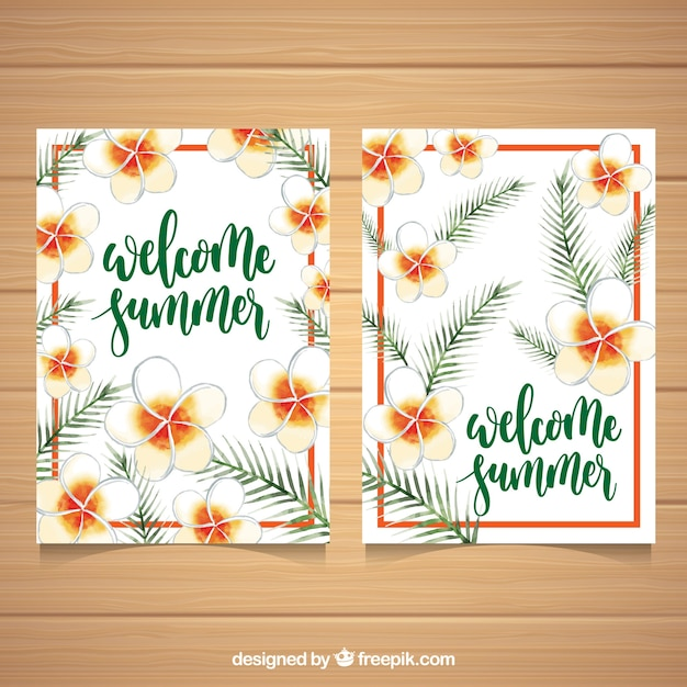 Pretty summer cards with hand drawn\ flowers