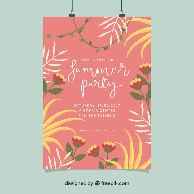 Pretty summer party poster with leaves and\ flowers in vintage style