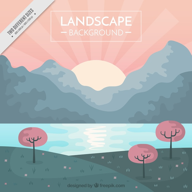 Pretty sunny landscape background with pastel\ tones