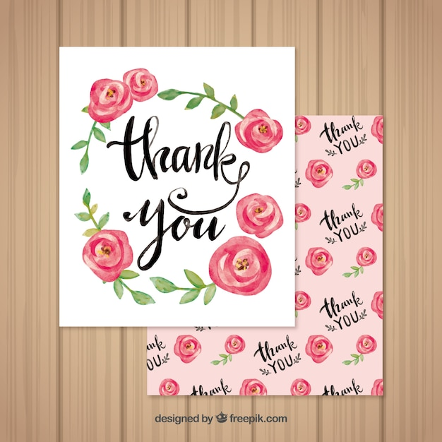 pretty thank you card of watercolor roses vector free download