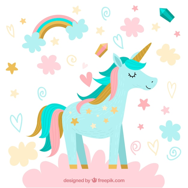 Pretty unicorn background with clouds and stars Premium Vector
