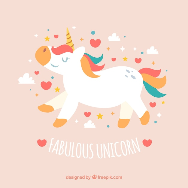 Pretty unicorn background with hearts and clouds
