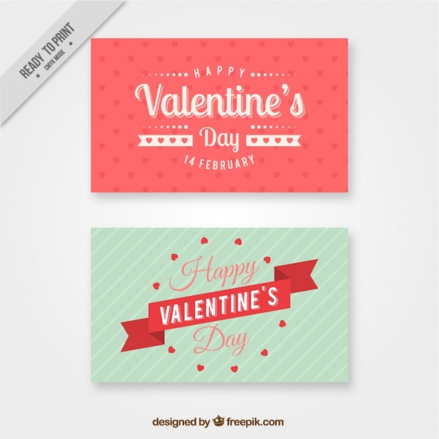 Pretty valentine cards in vintage style Vector – Pretty Valentine Cards
