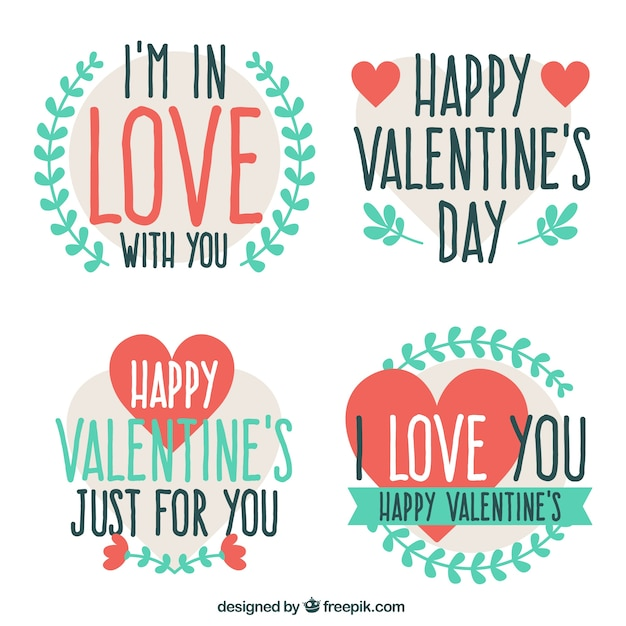 Pretty Valentine Stickers With Love Messages Free Vector