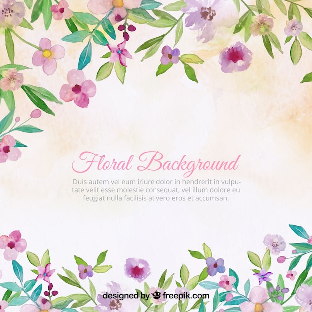 Pretty vintage background of watercolor flowers Free Vector