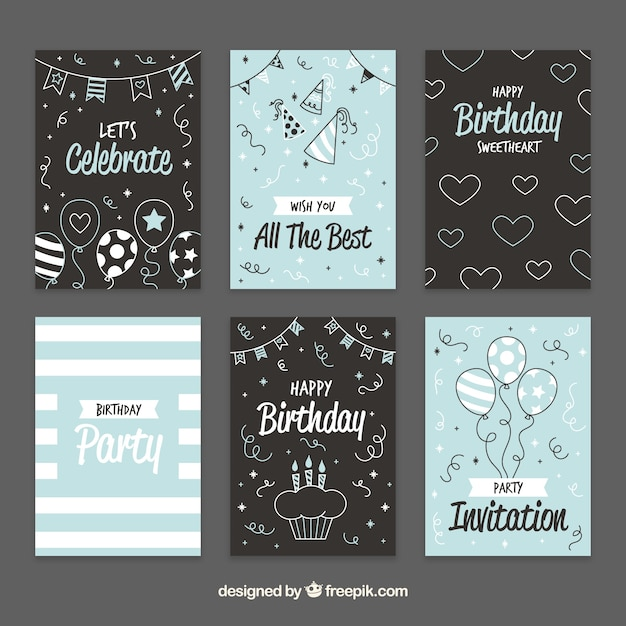 Pretty vintage birthday cards with sketches vector free download pretty vintage birthday cards with sketches free vector bookmarktalkfo Gallery
