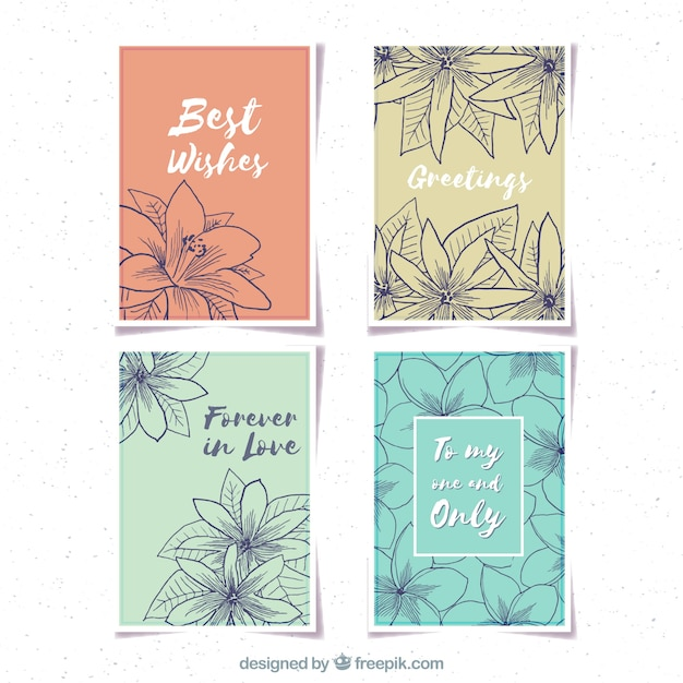 Pretty vintage cards with jasmine sketches Free Vector